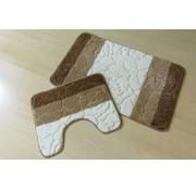 Set tapis de bain en couleurs brun et ivoire