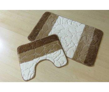 Badmattenset in bruin en ivoor tinten