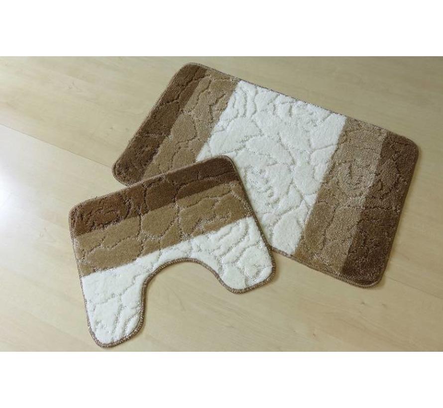 Set tapis de bain en brun et ivoire