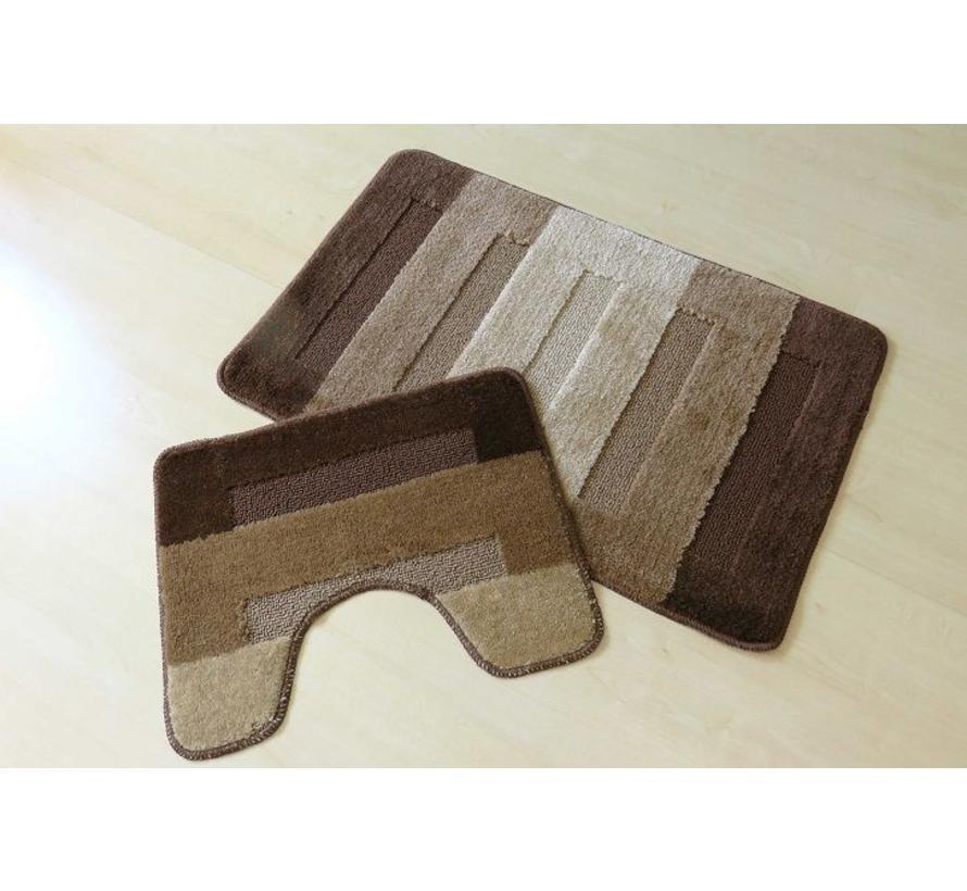 Set tapis de bain en coleurs brun