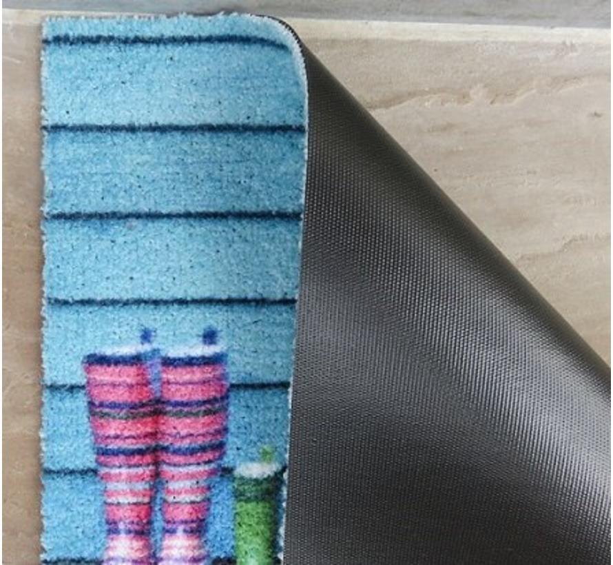 Deurmat blauw met rubberen laarzen
