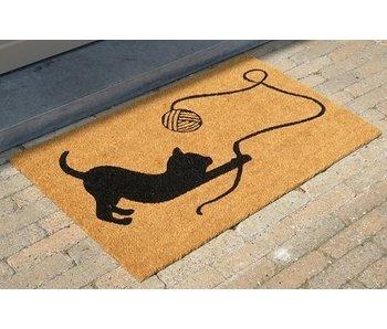 tapis coco imprimé avec un chat jouant, 45x75cm