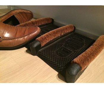 Schoenborstelmat uit rubber en coco borstels