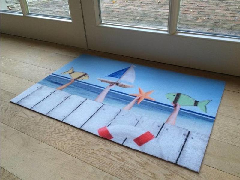 Tapis d'entrée avec dessin de la mer, 40x60cm et 50x80cm