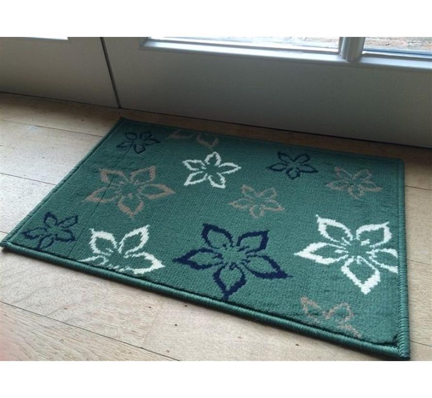 Deurmat groen met bloemenprint