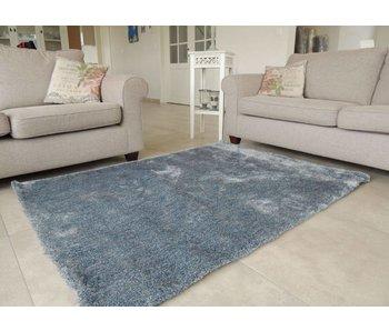 Hoogpolig tapijt blauw met zilver