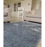 Luxueus hoogpolig tapijt in blauw en zilver