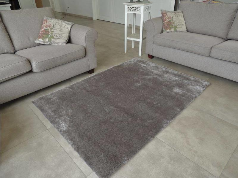 Tapis longs poils shaggy couleur taupe