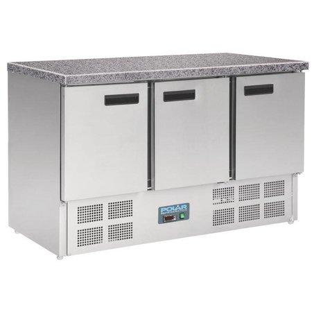 Polar Koelwerkbank 3 Deurs - Mini met marmeren werkblad