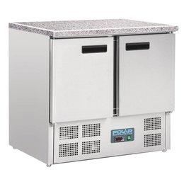 Polar Koelwerkbank 2 Deurs - Mini met marmeren werkblad