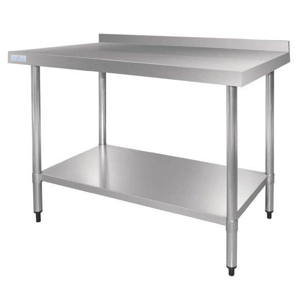 Vogue 150cm RVS Werktafel - 70cm diep, met achteropstand