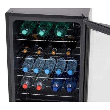 Husky Zwarte Koelkast met glazen deur - 130 liter