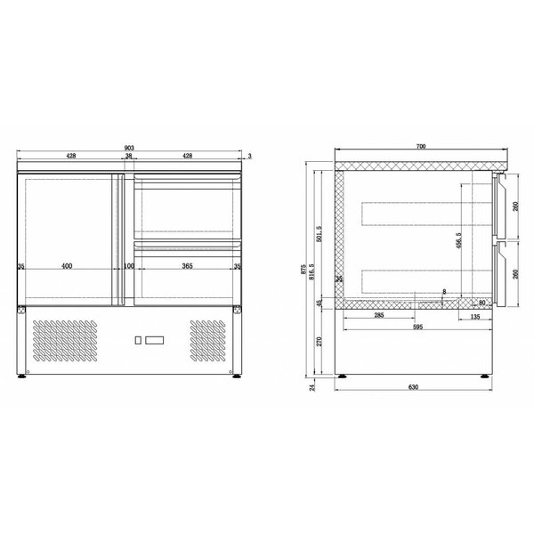 Combisteel Koelwerkbank met 2 deuren en 2 lades