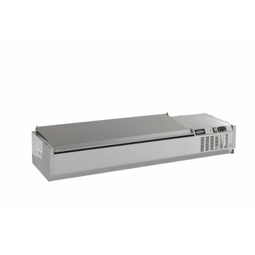 Combisteel Opzetvitrine GN 1/4 - 120cm RVS deksel