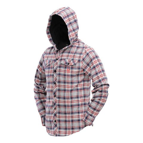 HOODED FLANNEL Gray/Red