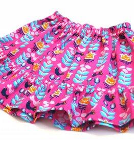 Minirock / Mädchenrock, Blumen, Vögel, pink, 92-104 (2-4 Jahre)