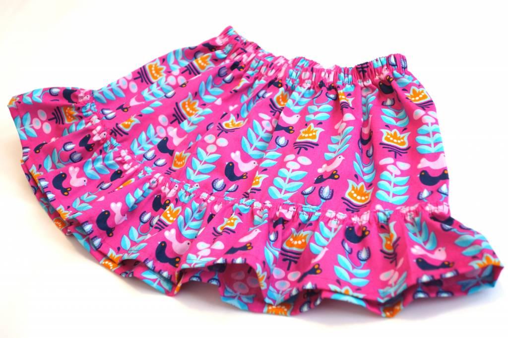 Bunter Minirock / Mädchenrock, Blumen, Vögel, pink, 92-104 (2-4 Jahre)