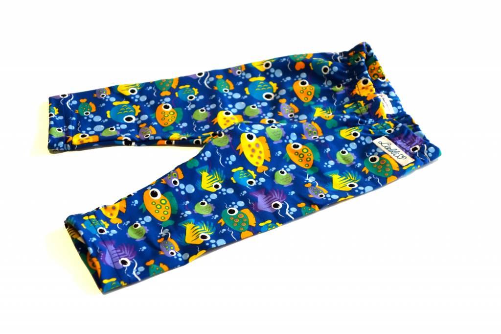 Bunte Baby Leggings, Fische auf blau, Gr. 50, 62, 74, 80