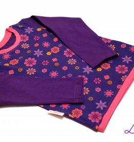 Langarmshirt, Blumen auf lila, Gr. 74, 80, 86, 92, 98, 104, 110, 116