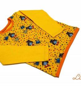 Langarmshirt, Eulen auf gelb, Gr. 74, 80, 86, 92, 98, 104, 110, 116