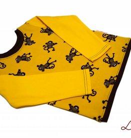 Langarmshirt, Affen auf gelb, Gr. 74, 80, 86, 92, 98, 104, 110, 116
