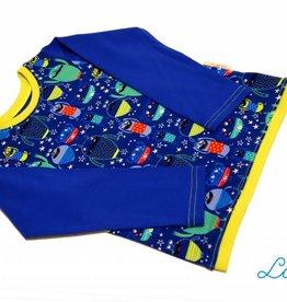 Langarmshirt, Monster auf blau, Gr. 74, 80, 86, 92, 98, 104, 110, 116