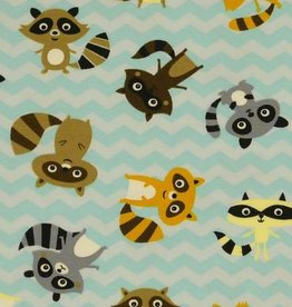 Baumwolljersey Waschbär, braun, orange, grau, gelb auf helltürkis