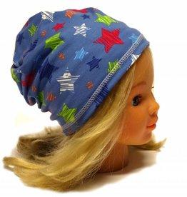 Schlauchschal und Mütze in einem, bunte Sterne auf jeansblau, aus Baumwoll-Stretchjersey