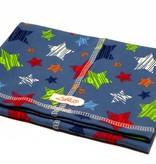 Bunter Schlauchschal und Mütze in einem, bunte Sterne, rot, orange, grün, weiss, türkis und dunkelblau auf jeansblau, aus Baumwoll-Stretchjersey