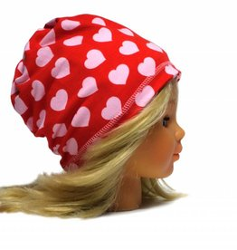 Schlauchschal und Mütze in einem, Herzen, rosa auf rot, aus Bio Baumwoll-Stretchjersey