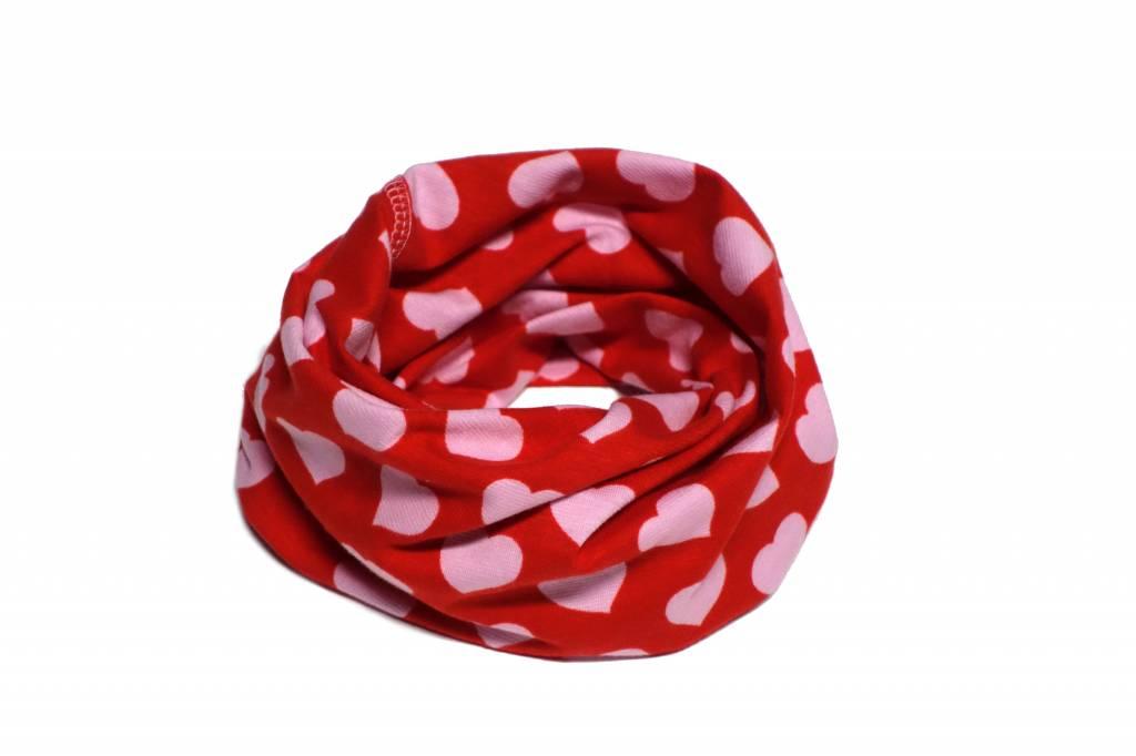Bunter Schlauchschal und Mütze in einem, Herzen, rosa auf rot, aus Bio Baumwoll-Stretchjersey