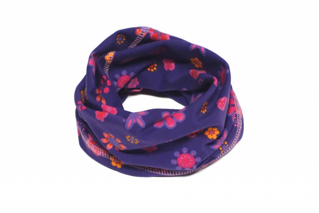 Bunter Schlauchschal und Mütze in einem, Blumen, pink, orange auf lila, aus Baumwoll-Stretchjersey