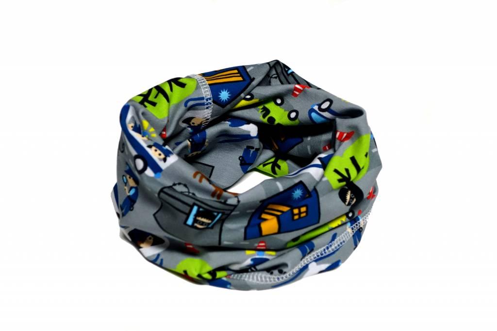 Bunter Schlauchschal und Mütze in einem, Polizei, dunkelblau, weiss, grün, gelb, rot und schwarz auf grau, aus Baumwoll-Stretchjersey