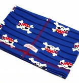 Schlauchschal und Mütze in einem, süße Piraten, rot, weiss und schwarz auf dunkelblau, aus Baumwoll-Stretchjersey