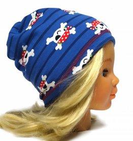 Schlauchschal und Mütze in einem, süße Piraten auf dunkelblau, aus Baumwoll-Stretchjersey