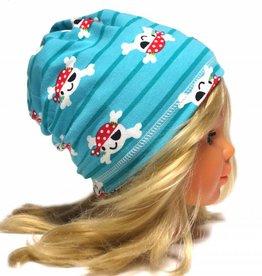 Schlauchschal und Mütze in einem, süße Piraten auf türkis, aus Baumwoll-Stretchjersey