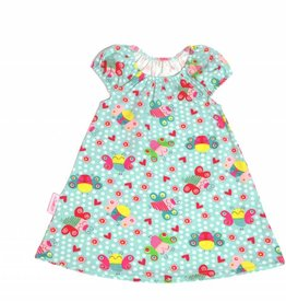 Tunika Kleid süße Schmetterlinge auf helltürkis