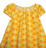 Bunte Tunika Kleid, Sterne, gelb-orange