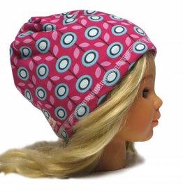 Schlauchschal und Mütze in einem, Bio-BW, Daisy, retro Blumen, türkis, weiss, rosa und braun auf pink, aus Bio-Interlock