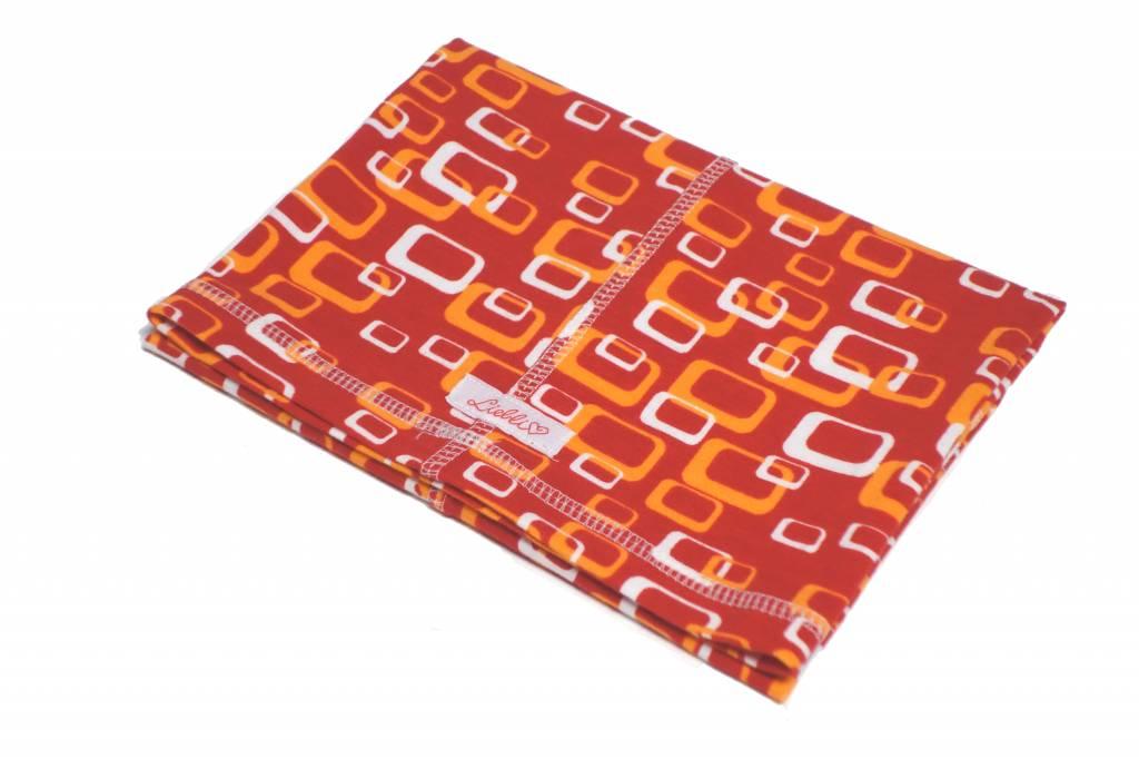 Bunter Schlauchschal und Mütze in einem, Bio-BW, retro Kästchen, weiss und orange auf rot, aus Bio-Stretchjersey
