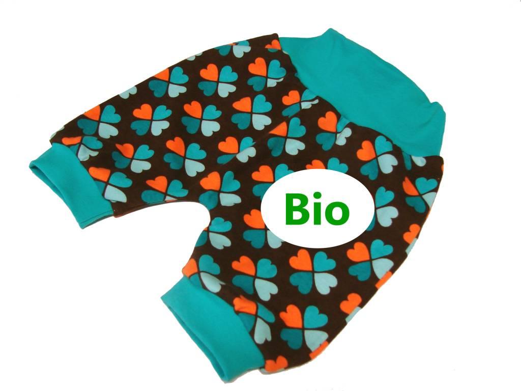 BIO Bunte Babyhose / Pumphose, Bio, Glücksklee, braun, 56, 62, 68