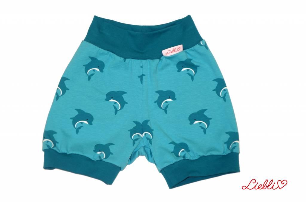 Bunter Short, Kurze Kinderhose, Delfine, türkis-petrol, Gr. 80-140