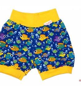 Bunter Short, Kurze Kinderhose, Fische, blau-gelb, Gr. 80-140