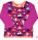 Buntes Langarmshirt, Meerjungfrau mit Wal, violett, orange, türkis, dunkelblau, Gr. 74, 80, 86, 92, 98, 104, 110, 116