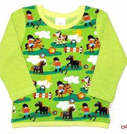 Langarmshirt, Pony Pferde und Reiter auf gelbgrün, Gr. 74, 80, 86, 92, 98, 104, 110, 116