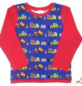 Langarmshirt, Baufahrzeuge, Bagger, blau-rot, Gr. 74, 80, 86, 92, 98, 104, 110, 116