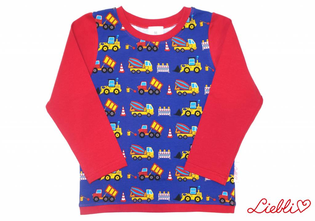 Buntes Langarmshirt, Baufahrzeuge, Bagger, blau-rot, Gr. 74, 80, 86, 92, 98, 104, 110, 116