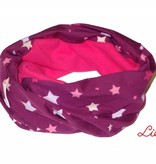Loopschal warm, bunte Sterne auf violett