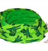 Loopschal warm, Krokodile auf grün
