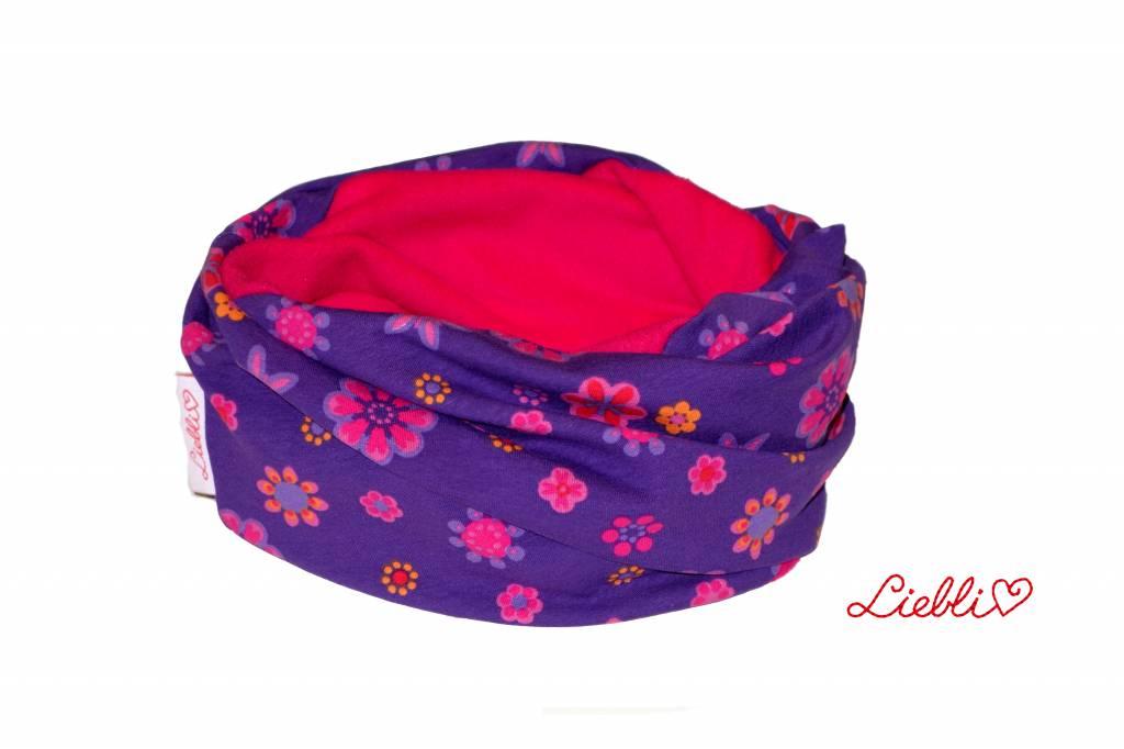 Loopschal warm, Blumen, lila, pink, orange